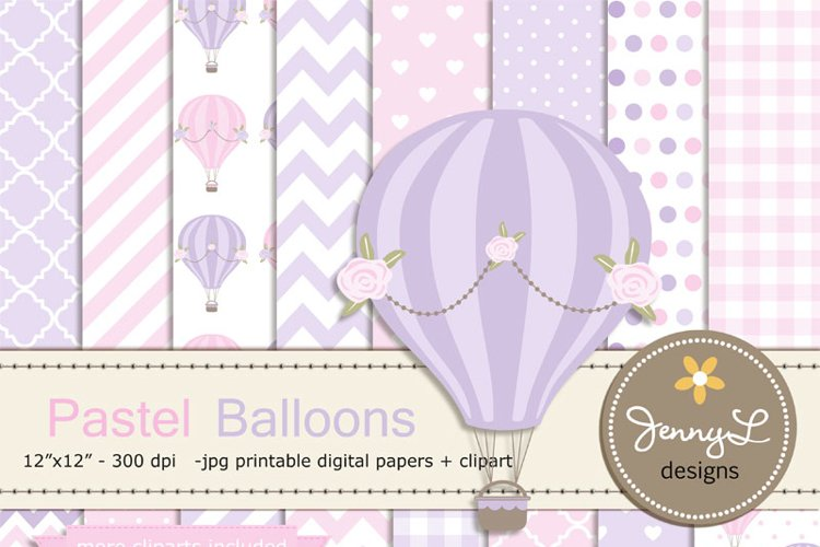 Pastel Pink Hot Air Balloons Digital papers and Clipart example image 1