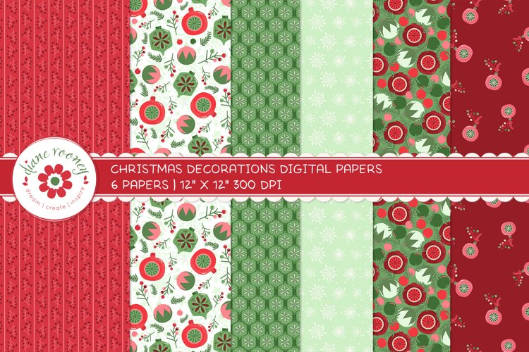 Christmas Digital Paper Backgrounds in Traditional Colours