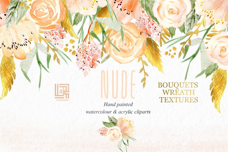 Nude & gold flowers. Watercolour & acrylic clipart. example image 1