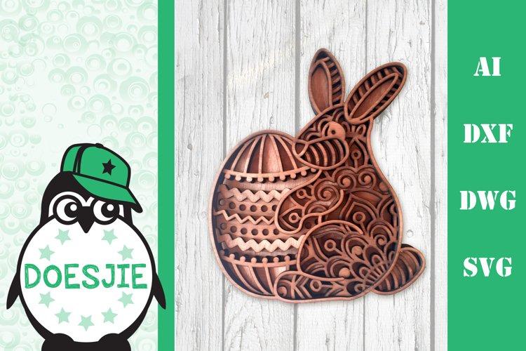 Easter bunny with easter egg Layered mandala SVG Glowforge