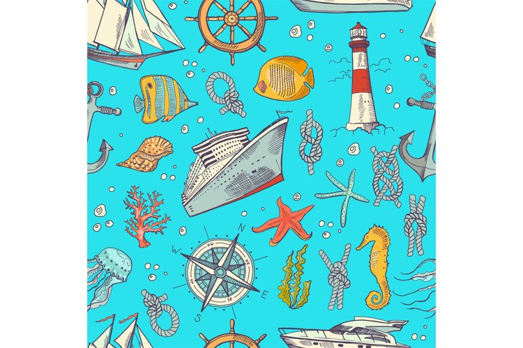 Vector colored sketched sea elements pattern or background example image 1