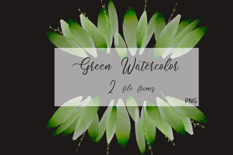 Foliage Clipart Green Watercolor Frame example image 1