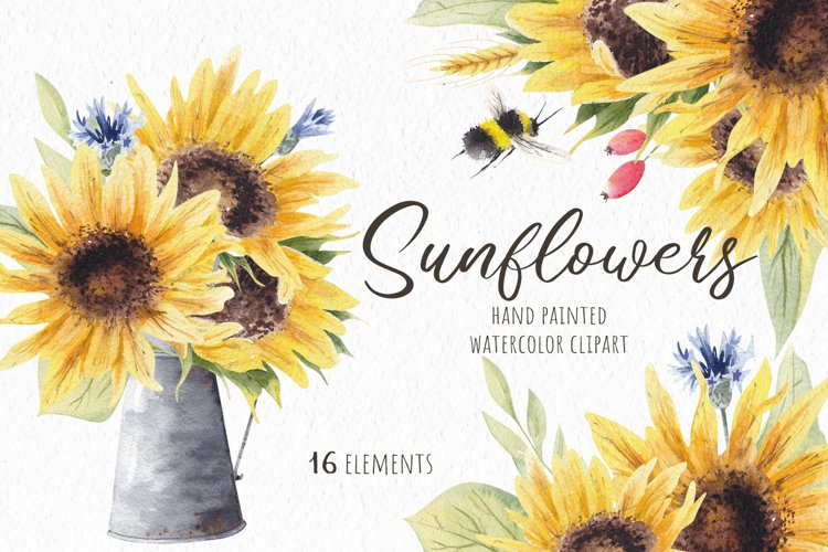 Watercolor Sunflowers Clipart, Autumn Flowers example image 1