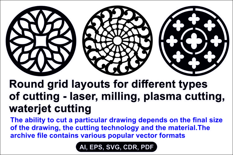 Round grid layouts for different types of cutting example image 1