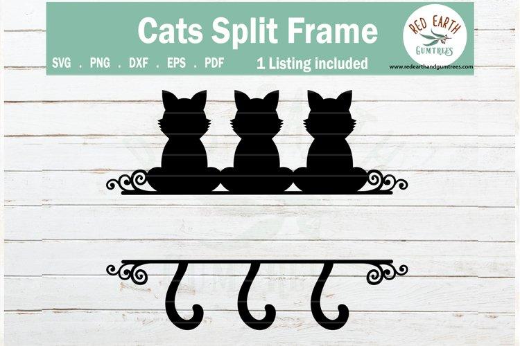 Cat split monogram frame svg, sitting cats SVG,PNG,DXF,EPS