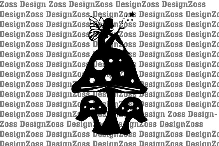 Fairy on top of mushroom svf file, cut file graphic file