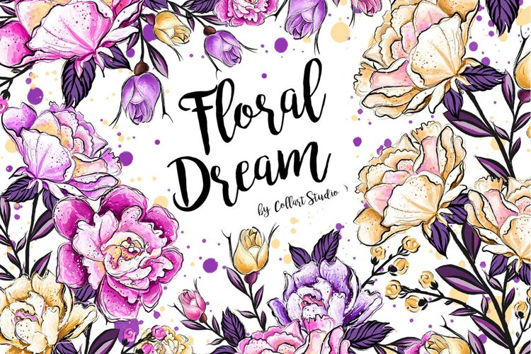 Floral clipart, Watercolor roses, spring flowers, roses example image 1