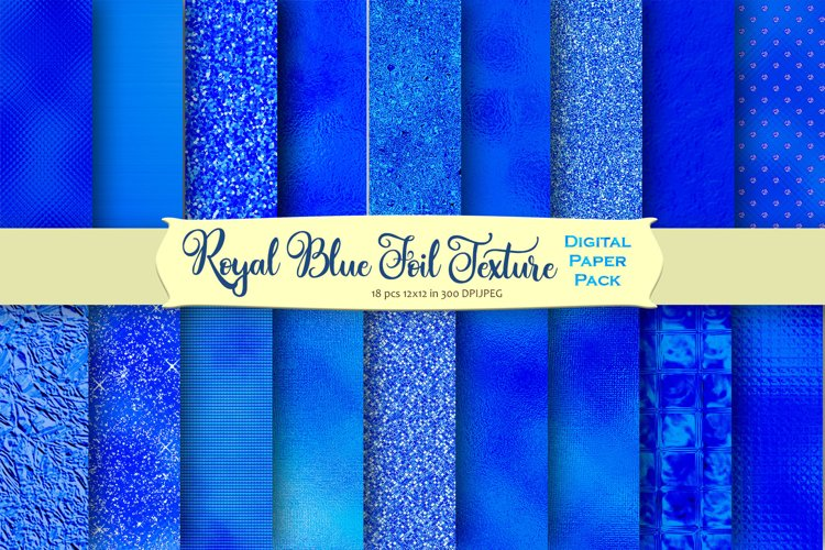 Royal Blue Foil and Glitter Textures Digital Paper example image 1