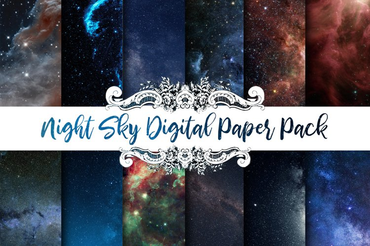 Starry Sky Space Digital Paper Pack example image 1