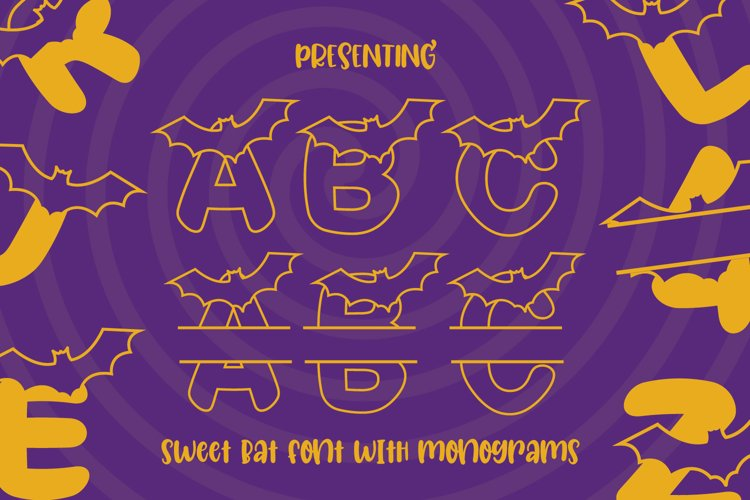 Boo Bats - 2x Line and Monogram Font for Halloween