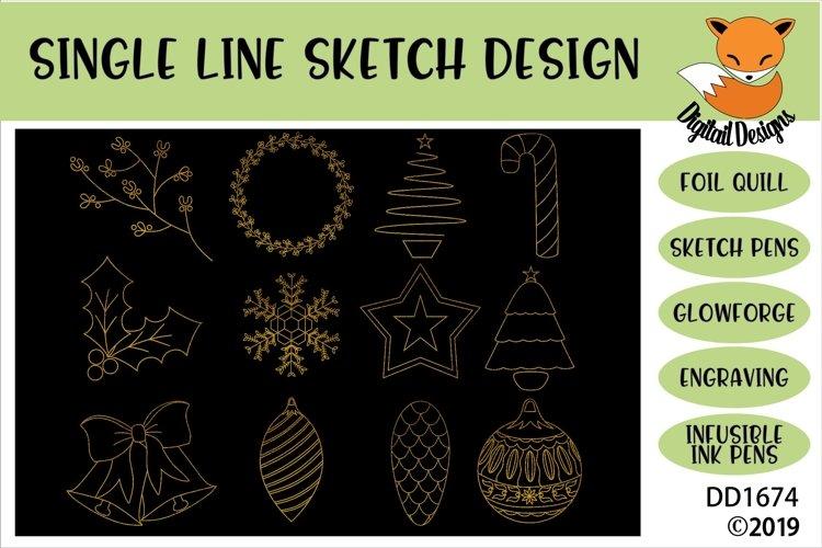 Foil Quill Christmas Illustration Doodle Bundle