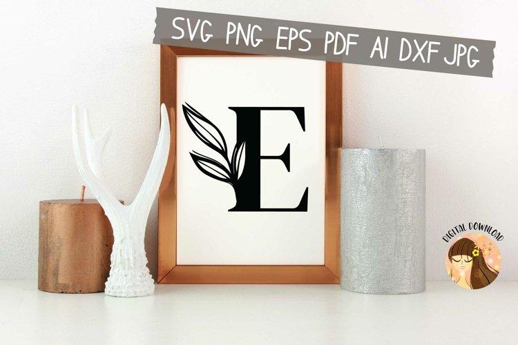 E - Floral Letter Design Svg