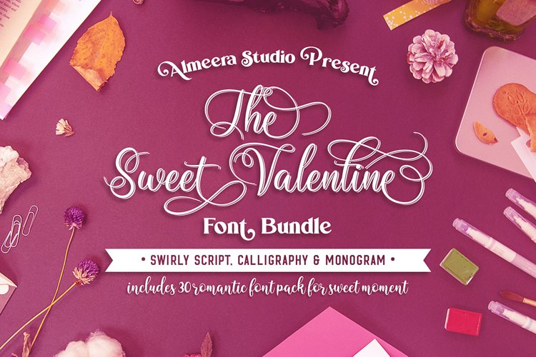 The Sweet Valentine Font Bundle example image 1
