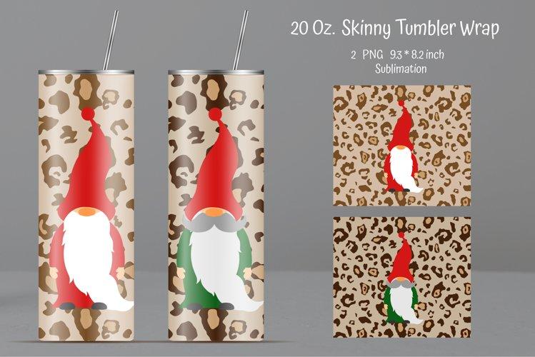 Sublimation Tumbler Leopard print. Gnome Tumbler Design example image 1