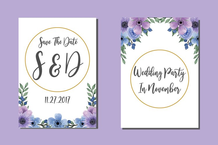 Flower Bouquet Watercolor Art Wedding Invitations SVG example image 1