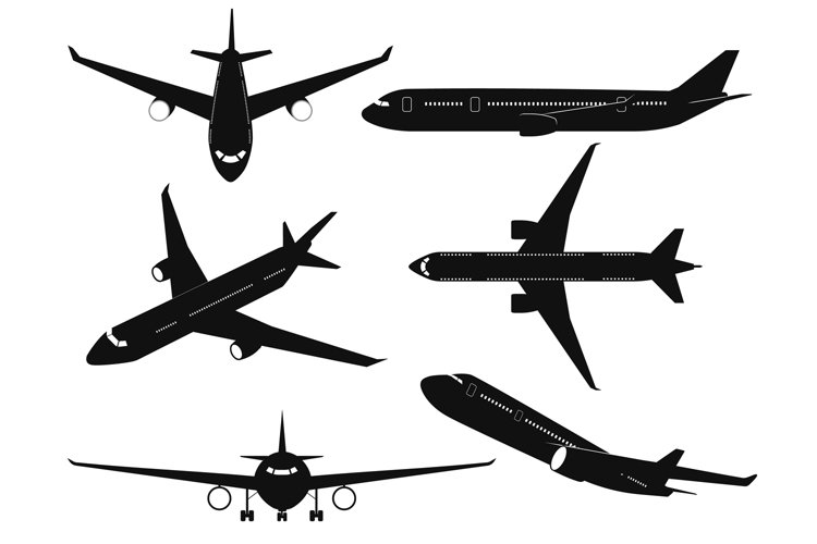 Airplane silhouettes. Passenger aircraft in different angles example image 1
