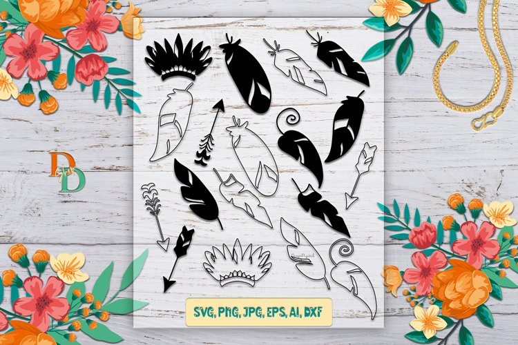 FEATHER SVG/ Boho Feather SVG / Feather Svg Bundle / feather example image 1