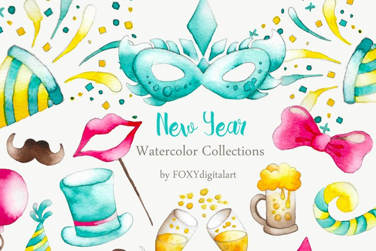 New Years Eve Party Watercolor Clipart example image 1