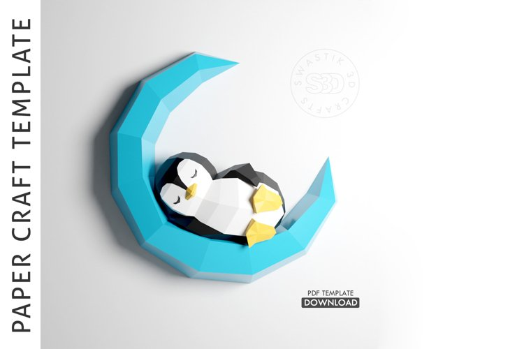 PDF Template of Penguin On Moon Papercraft /3D Papercraft example image 1