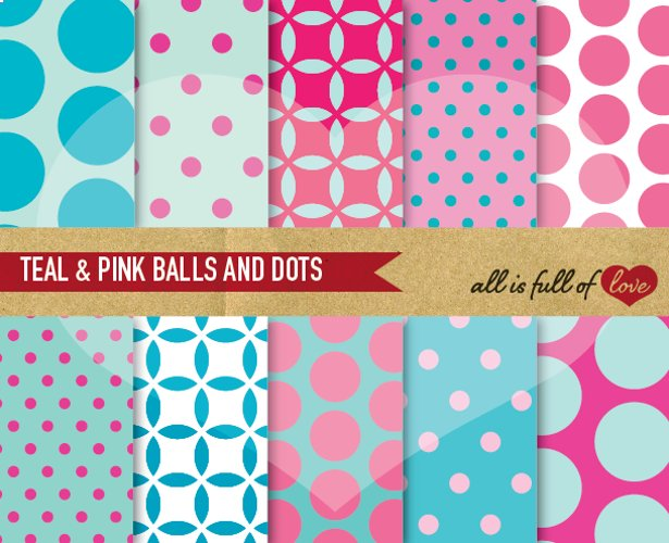 Teal and Pink Digital Paper Dotted Scrapbook Background Patterns example image 1