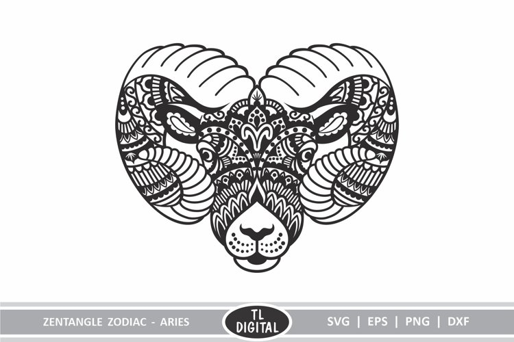 Zodiac Zentangle - Aries - Ram - SVG | EPS | PNG | DXF example image 1