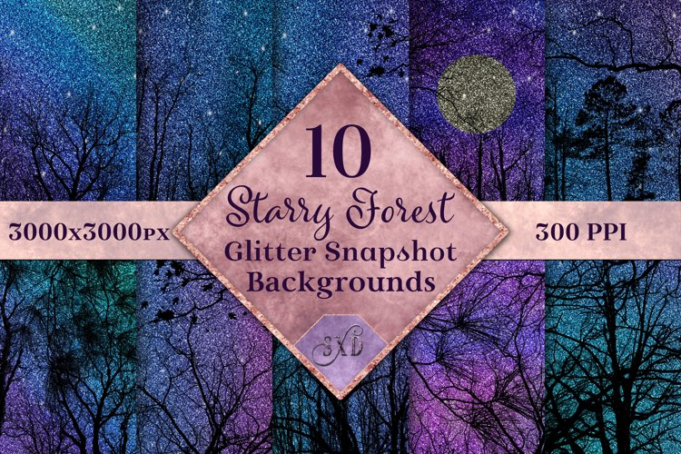 Starry Forest Glitter Snapshot Backgrounds - 10 Image Set