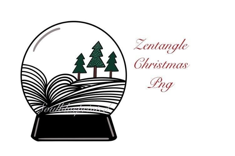 Zentangle Christmas Snow globe PNG. Doodle Art Design. example image 1