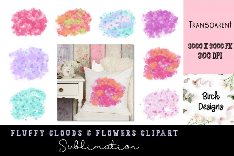 Colorful Fluffy Cloud Splashes Sublimation Clipart