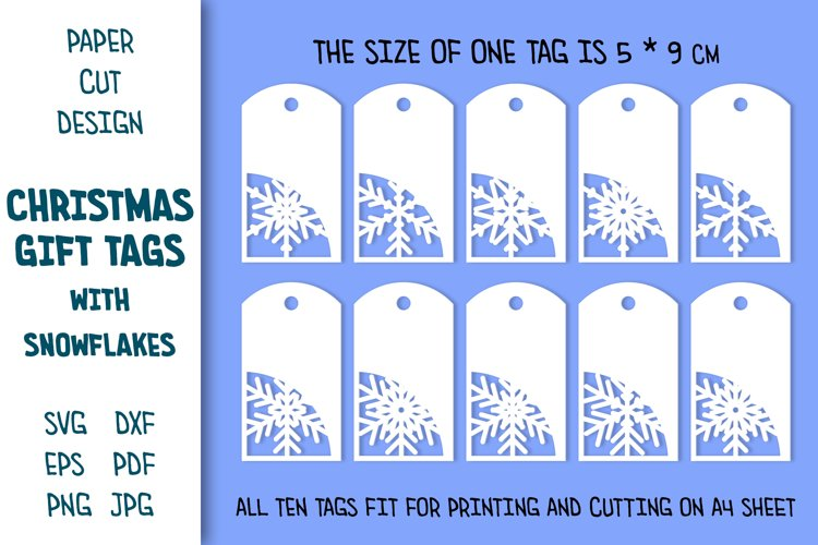 Paper Cut Tags Template. Christmas Gift Tags with Snowflakes