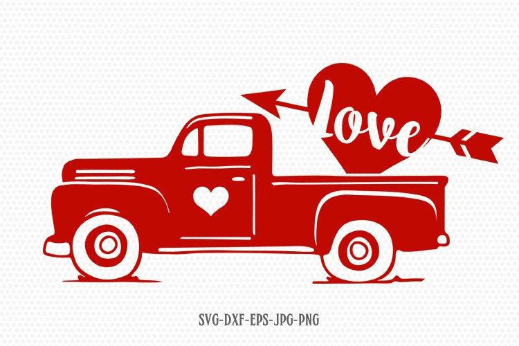 Valentines vintage Truck, Valentines Day SVG, Love SVG example image 1