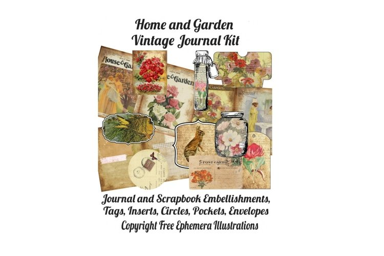 House and Garden Vintage Journal Scrapbook Kit PDF example image 1