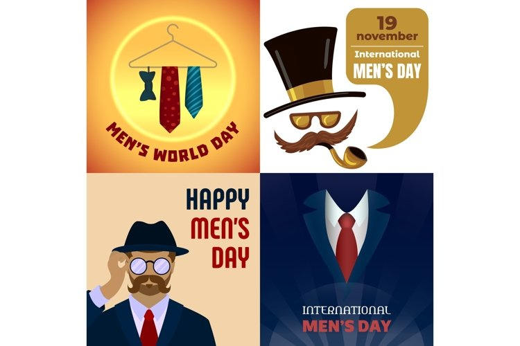 Mens day banner set, cartoon style example image 1