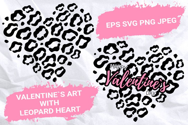 Valentines Art with Leopard Heart. Cut files.