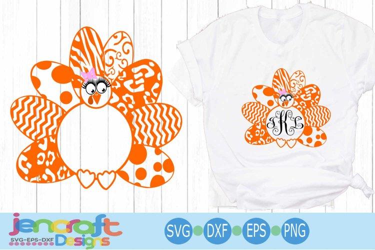 Turkey SVG - Patterned Girl Monogram Frame Thanksgiving SVG