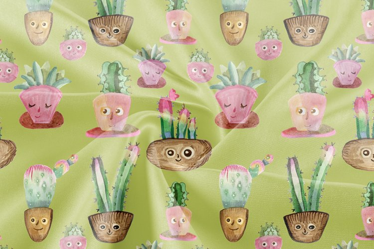 Digital paper / Seamless pattern with cute cacti example image 1