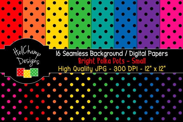16 seamless Digital Papers - Bright Polka Dots Small - HC023