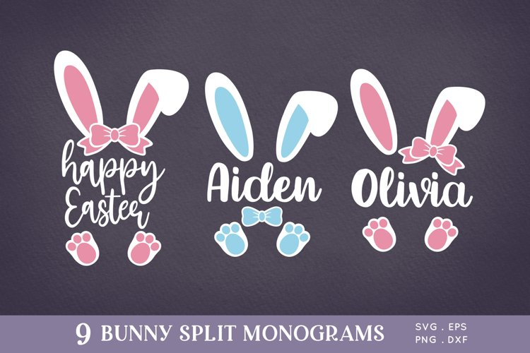 Easter Bunny Ears Split Monogram svg png eps example image 1