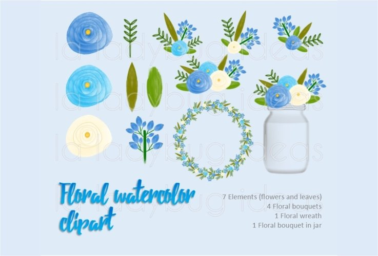 Blue and white floral watercolor clip art collection.  example image 1