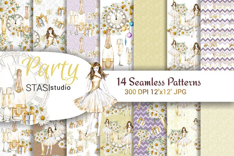 Party Watercolor Seamless Patterns example image 1