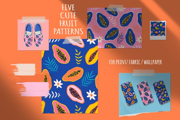 5 seamless vector patterns with fruit