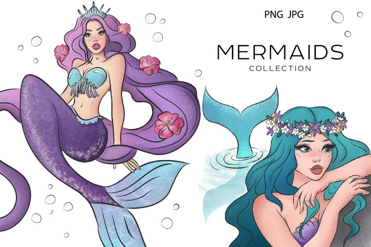 Mermaids Digital Art Bundle Collection example image 1