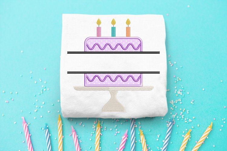 Birthday Cake on Cake Stand Split Applique Embroidery Design