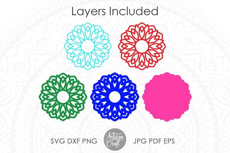 3D Layered mandala SVG, 3D paper sculpture, layered vinyl example 1