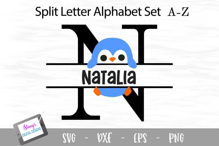 Penguin Split Letters A- Z - 26 Split Monogram SVG Files example image 1