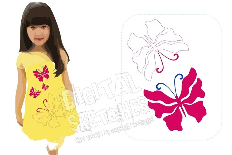 Butterfly SET Machine Embroidery Design 5 Sizes example image 1