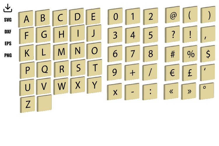 FONT inspired by scrabble, 26 letters,16 signs , 10 numbers example image 1