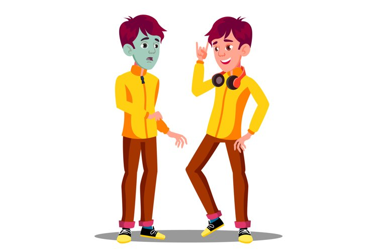 Sick Teen Guy With Green Face example image 1