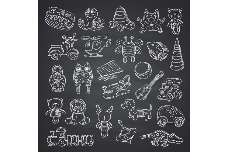 Vector kid toys set hand drawn example image 1