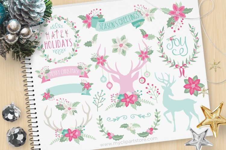 Rustic Christmas Elements 3, Reindeer - Vector Clip Art & SV example image 1