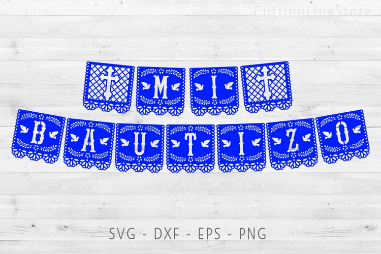 Mi bautizo banner in papel picado style, Svg file for cricut example image 1